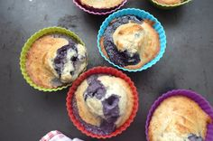 Upside Down Blueberry & Vanilla Protein French Muffins (add 1/2c of yogurt or cottage cheese)