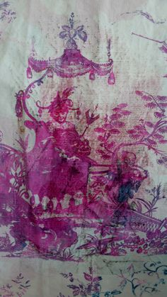 hand painted lilac toile on antique linen./ fine as tissue paper