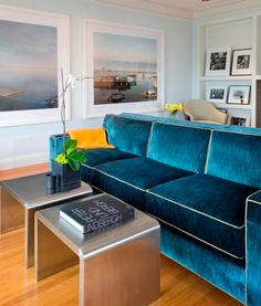 source: Martha Angus      Modern living room with baby blue walls paint color, built-ins, art, back to back peacock blue velvet sofas with white piping and twin brushed steel modern accent tables.  - LOVE THE COUCh - amypinterest addict