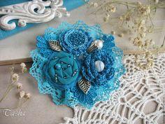 "Купить ""Azure sea"" брошь бохо бирюзовая голубая цветок - брошь, брошь бирюзовая boho chic boho jewelry boho brooch brooch textile"