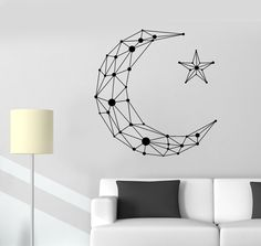 Vinyl Wall Decal Geometric Moon Star Art Decor Room Decoration Stickers Unique Gift OFF from all product from our store Tape Wall Art, Washi Tape Wall, Diy Wall Decor, Art Decor, Room Decor, Tumblr Wall Decor, Vinyl Decor, Decor Ideas, Decoration Stickers