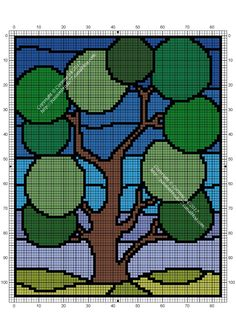 Disney Cross Stitch Patterns, Counted Cross Stitch Patterns, Blackwork Embroidery, Cross Stitch Embroidery, Pixel Art, Green Trees, Cross Stitching, Knitting Patterns, Projects To Try