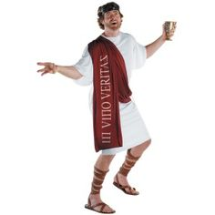 Well, here comes the wine guy in his Dionysus-The God of Wine Adult Costume! He may act a little crazy because he is the God of everything about parties. Dionysus costume includes a white robe tunic, a wine colored sash and belt. Add some very inexpensive Roman Sandals, and an Evil Royal Goblet to drink from.