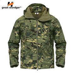 În aer liber Tactical camuflaj Bărbați Jacket Coat Armata militară Jacket  Iarnă impermeabilă Soft Shell Jacket Windbreaker Haine de vânătoare f8f2d1eeffe