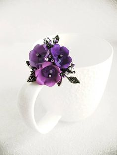 Brooch Nuance Pin Polymer clay jewelry Flower Brooch Lilac