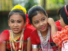 Tripuri children preparing for a dance performance. The Tripuri, a Tibeto-Burman ethnic group that originated near the upper courses of Yangtze River and Yellow River in China, form 17 per cent of the state's population.