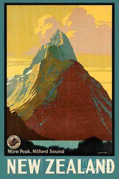 vintage travel poster Milford Sound, Nieuw Zeeland