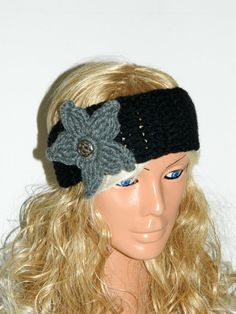 Gray Black White Crochet Headband adult by WomanStyleStore on Etsy, $17.00  headband, woman headband, hair accessories