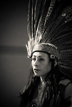 Aztec woman in head-dress - Dia de los Muertos - San Jose, CA