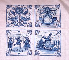 """Delft Blue Tiles,"" in a beautiful contd cross-stitch piece!"