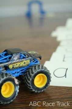 ABC Race Track-Letter Recognition Activity for Preschoolers-great learning activity for kids who love cars and trucks!