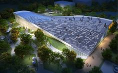 Green Architecture: JDS Architects' Beijing Green Visitor Center is a Sustainable Building You Can Walk On. Parque Industrial, Industrial Park, A As Architecture, Architecture Visualization, Sustainable Architecture, Sustainable Design, Contemporary Architecture, Exhibition Building, Solar Roof