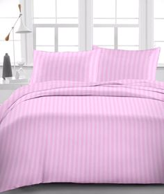 """1 Fitted Sheet & Pillow Case 1000 Tc Up To 15"""" Drop Pink Stripe"""
