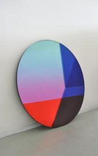 The Big Round from the Seeing Glass series of mirrors (2013) utilises several layers of glass which sandwich a selection of colour foils to create a play of colour & depth,by Brit van Nerven & Sabine Marcelis, POA (sabinemarcelis.com) | Colourful designs for your home - Luxury