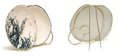 Lydia Feast- 'Moments In Between' Enamel Brooch white metal  enamel with stencil detail (front & back)