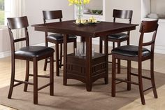 Beauty, function and form is provided with this counter height dining table with seating for up to four. Covered in a dark rosy brown finish, it features a square or round shaped table top with a func