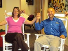 """Congratulations to Elizabeth Pitcock and her husband Lucias. They are the big winners of our two wooden rockers in the """"Rock In and Donate"""" giveaway drawing for Wayne Co. donors at the Richmond CBC! ROCK ON ELIZABETH & LUCIAS!"""