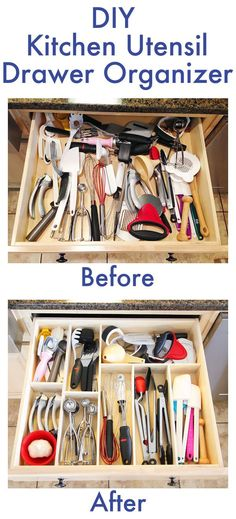 I can't wait to do this project this weekend - looks so easy! DIY Wood Kitchen Drawer organizer and 10 Creative and Budget Friendly Kitchen Organization and Storage Ideas to help us kick Kitchen clutter to the curb! www.settingforfour.com