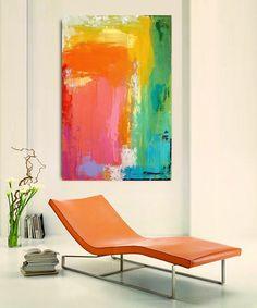 "Ora Birenbaum Original Art, Colorful, Acrylic, Abstract, Rainbow, Orange, Green,Yellow Painting on Canvas Titled: Happy 24x36x1.5"""