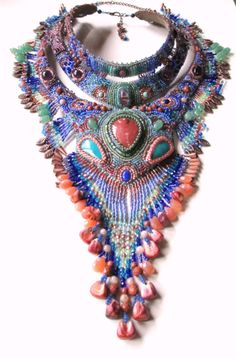Beaded Tiered Collar Necklace with Arizona Opal by AniccaJewelry, $625.00