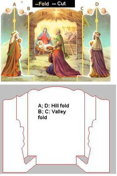 Print out the large nativity scene, cut around the edges of the scene and where indicated in the diagram. Fold as per diagram. (I plan, if I get around to it, to post a few more Biblical Christmas paper crafts before Christmas, so stay tuned! 3d Christmas, Christmas Paper Crafts, Miniature Christmas, Christmas Nativity, Christmas Pictures, Christmas Projects, All Things Christmas, Vintage Christmas, Christmas Decorations