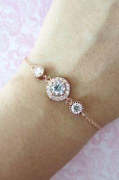8cd85fd09 Rose Gold Cubic Zirconia Bracelet - Rose Gold Filled Chain, Pink Gold  wedding bridal bride bridesmaid best friend sister friendship bracelet