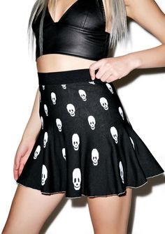 Skull Skater Skirt cuz even undead girlies want sumthin' cute 'n flirty! This adorable flared skater skirt features a high waisted cut, elasticized waistband, stretchy black knit body with skull print, and plenty of flounce!