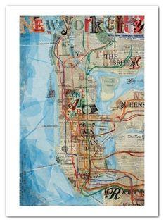New York map by Mae Chevrette @ www.maechevrette.com
