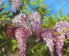 Wisteria  - Original, oil painting - Size: 20 x16 x 0,75 (50,5 x45 x 1,9 cm) - Framed/non-framed: Sides Painted. This painting may be hung unframed or framed as you desire. - Materials: oil paint, canvas, medium, palette knife - Signed  Ships within continental US only.
