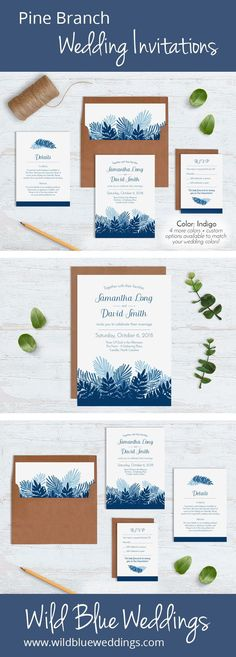 Whether you're getting married in the forest, or just love the great outdoors, these pine branch wedding invitations are just perfect. Indigo (blue) color pictured. Check out all 5 colors here: https://www.wildblueweddings.com/product/pine-branch-wedding-invitation-sets/
