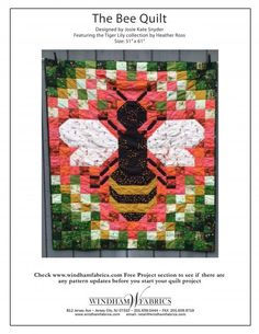 Free patterns for The Bee Quilt by Josie Kate Snyder