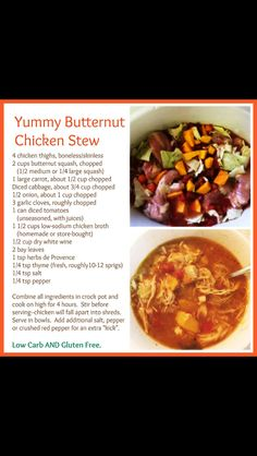 Yummy Butternut Squash Chicken Stew - Crock Pot - Low Carb and Gluten Free