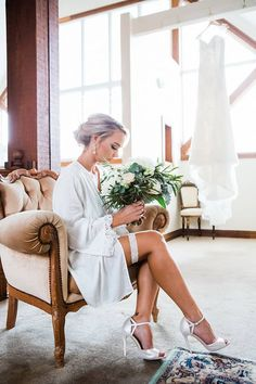 Wedding Photography Poses Romantic bridal boudoir photo on the morning of the wedding with white garter, heels and bouquet Bridal Boudoir Photos, Wedding Boudoir, Wedding Photoshoot, Bridal Portraits, Bridal Pics, Wedding Picture Poses, Wedding Poses, Wedding Dresses, Wedding Tips