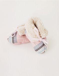 Pink Tartan Fleece Lined Baby Booties kid