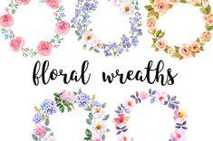 Watercolor wreath, Floral Clip Art, Watercolor illustration bundle, Flower illustrations, Wedding wreaths, watercolour clipart,blue jasmine