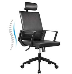 Office Chair High Back Leather Executive Computer Desk Chair, Adjustable Tilt Angle Headrest Lumbar Support Ergonomic Swivel Chair (Black) - Gift Options Showcase Tilt Angle, High Back Office Chair, Office Desk, Computer Desk Chair, Executive Office Chairs, Butterfly Chair, Cool Chairs, Swivel Chair, Angles