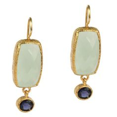Vasant Designs Green Chalcedony and Blue Iolite Sterling Silver with 24K Gold Vermeil Earrings E202
