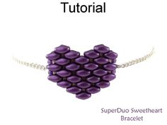 Beaded SuperDuo 2 Hole Bead Valentines Heart Chain Bracelet Beading Pattern Tutorial by Cara Landry with Simple Bead Patterns | Simple Bead Patterns