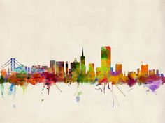 """""""San Francisco City Skyline"""" by Michael Tompsett, Castellon // Watercolor art print of the skyline of San Francisco, California, United States // Imagekind.com -- Buy stunning fine art prints, framed prints and canvas prints directly from independent working artists and photographers."""