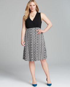 Karen Kane Plus Size Fashion Black and Grey Wrap Top Sleeveless Dress #Karen_Kane  #Plus #Size #Fashion #Plus_Size_Fashion #Bloomingdales