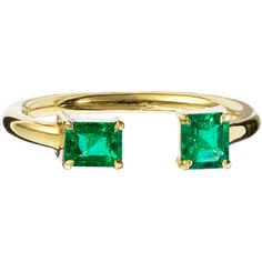 Jemma Wynne Open Emerald Ring ($2,625) ❤ liked on Polyvore featuring jewelry, rings, accessories, green, square ring, emerald ring, green jewelry, emerald jewellery and emerald green jewelry