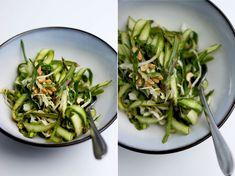 asparagus salad + sesame chili lime dressing