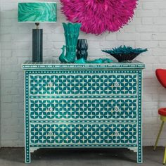 Star Bone Inlay Chest Of Drawers - Teal - Chest Of Drawers - Furniture - Furniture
