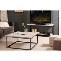 Table basse carrée en bois et métal L90cm LUCILE port offert en solde