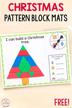 Christmas pattern block mats are so much fun and perfect for Christmas math centers! Preschool Christmas Activities, Preschool Activities, Christmas Maths, Kindergarten Christmas, Kindergarten Math, Preschool Printables, Christmas Pattern Block Mats, Pattern Blocks, Math Centers