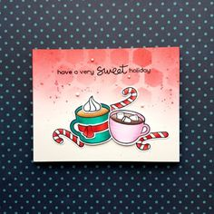 I created a Christmas card with the Thanks a Latte stamp set from Lawn Fawn. For the background, I ink blended with Candied Apple. Diy Christmas Cards, Christmas Store, Xmas Cards, Handmade Christmas, Holiday Cards, Greeting Cards, Cute Cards, Diy Cards, Thanks A Latte