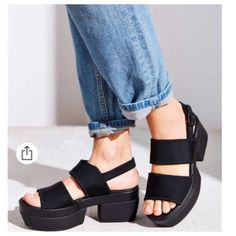 """Urban Outfitters Vagabond Lindy Platform Sandals Modern black sandal from the pros at Vagabond, with soft neoprene uppers and an adjustable strap at the heel for a perfect fit. Propped up on a cushy footbed + chunky platform heel. Purchased from Urban Outfitters. """"Top Rated Item"""" on the UO website. Euro size 39. Factory fresh new in box and never removed or tried on. Last of them sold out online in this color for full price on 1/10/2016. Neoprene, rubber, leather. Spot clean. Imported Urban…"""