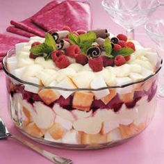 Fruit Trifle. Fantastic dessert--made it several times with different fruit, always great.