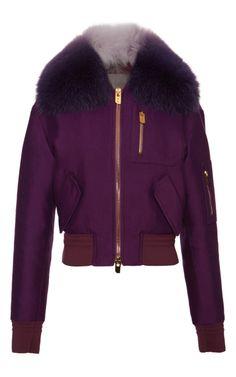 Purple Bomber Jacket With Fur Collar by Bally for Preorder on Moda Operandi <3 B