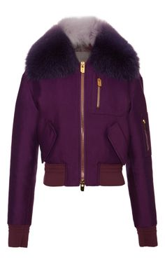 Purple Bomber Jacket With Fur Collar by Bally for Preorder on Moda Operandi <3 B